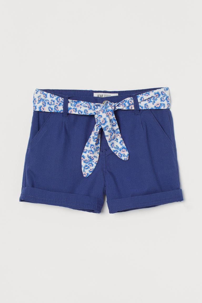 H & M - 綁帶短褲 - 藍色