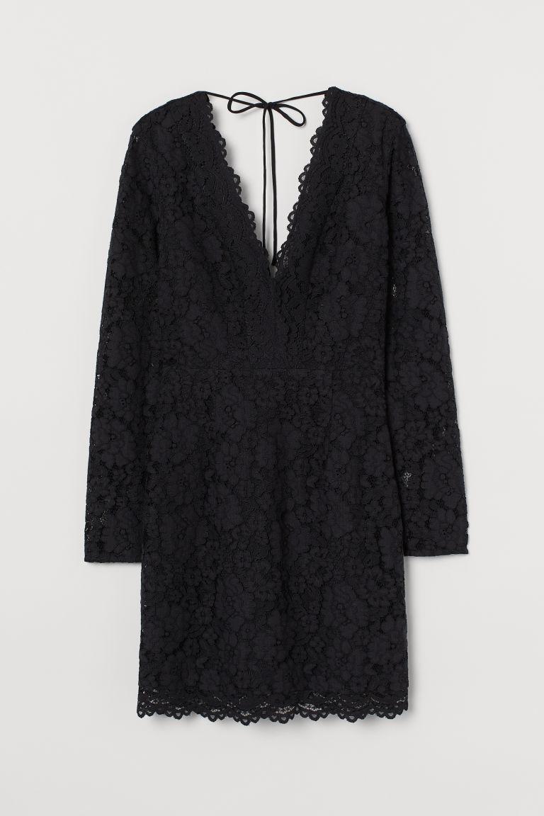 H & M - V領蕾絲洋裝 - 黑色