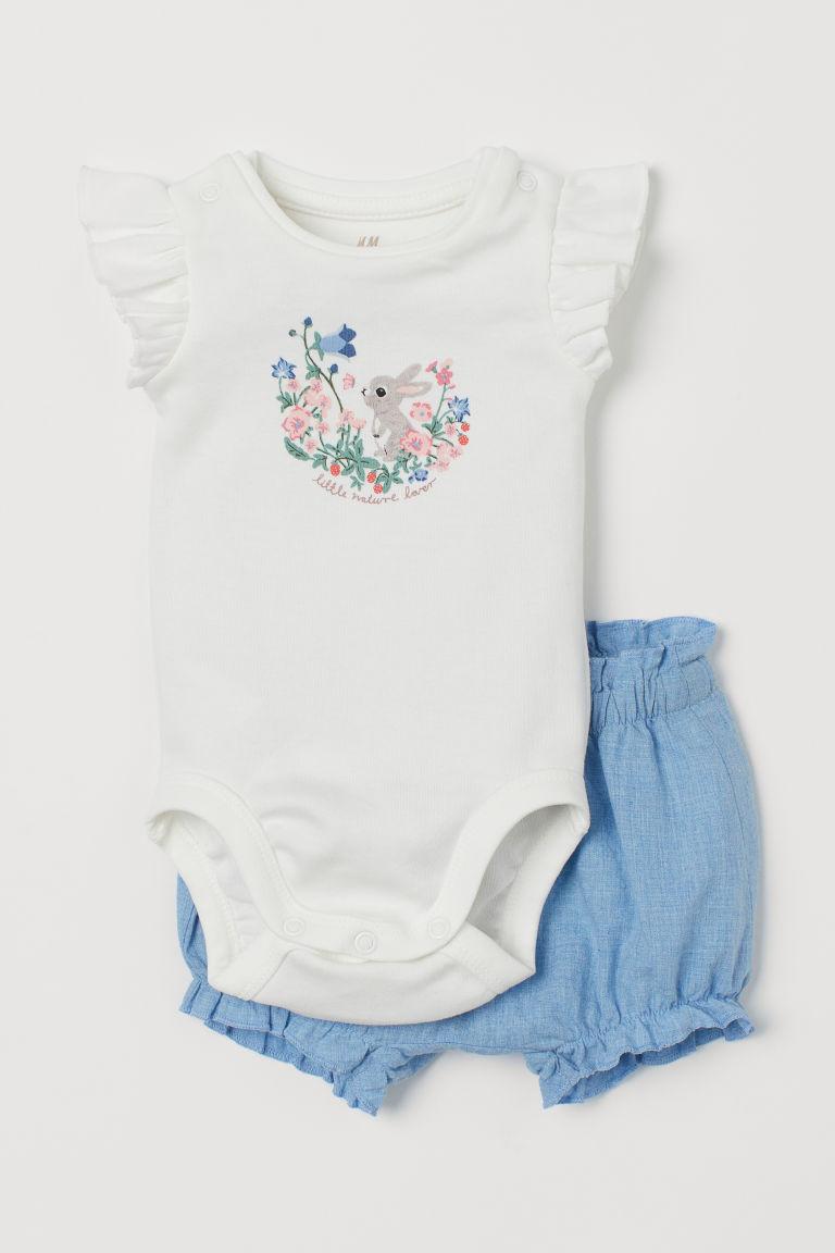 H & M - 棉質2件組套裝 - 白色