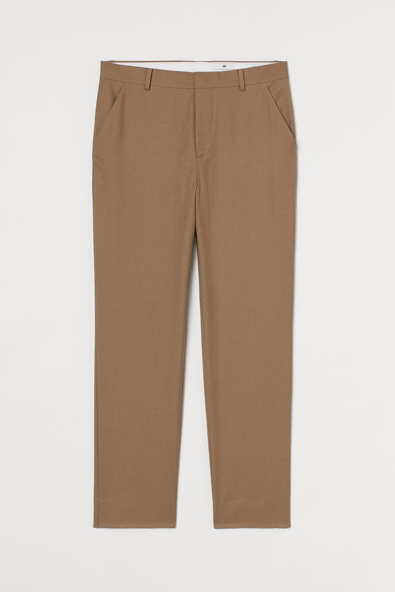 H & M - 合身修身長褲 - 米黃色