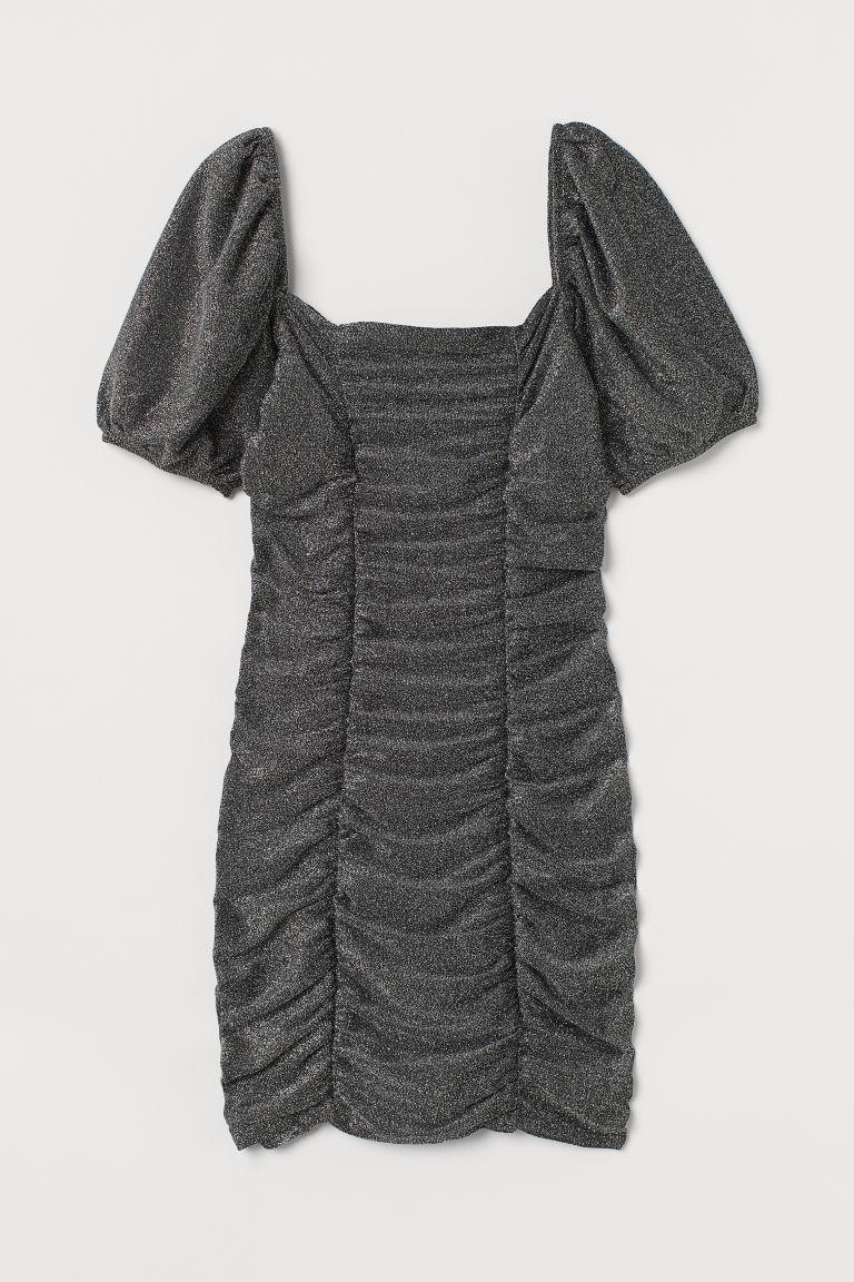 H & M - 垂墜感金蔥洋裝 - 灰色