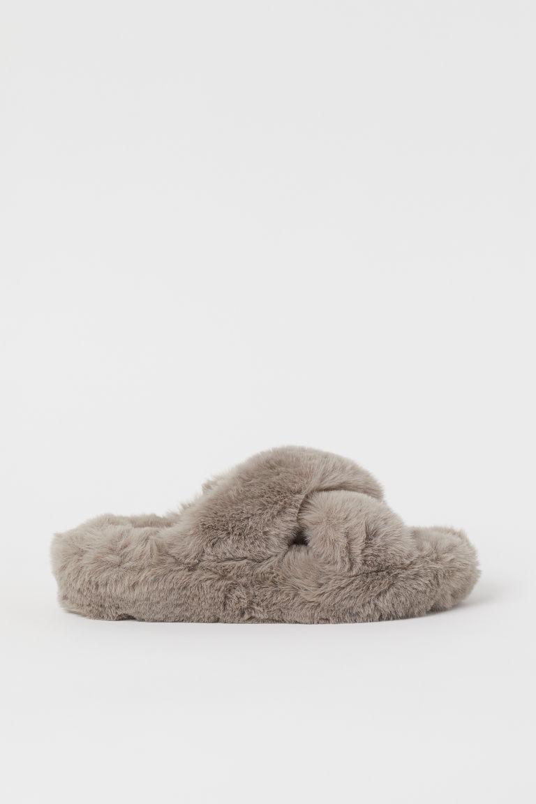 H & M - 仿毛家居鞋 - 灰色
