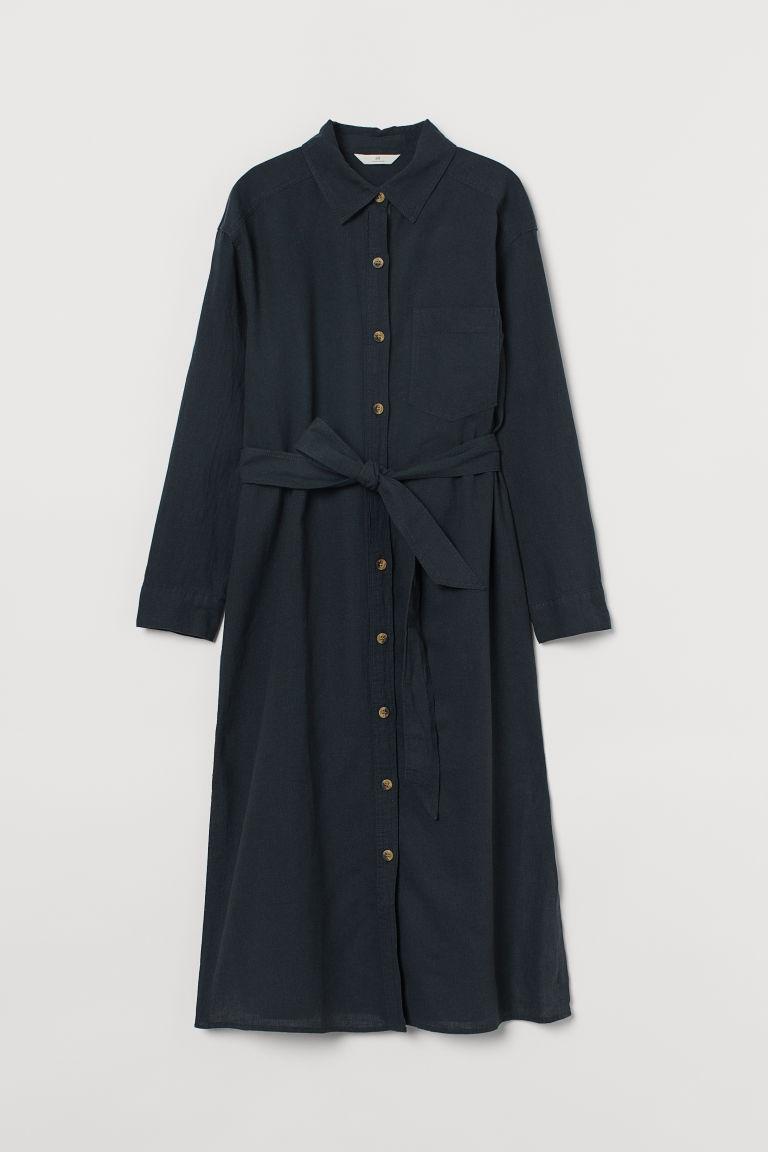 H & M - 亞麻混紡襯衫式洋裝 - 黑色