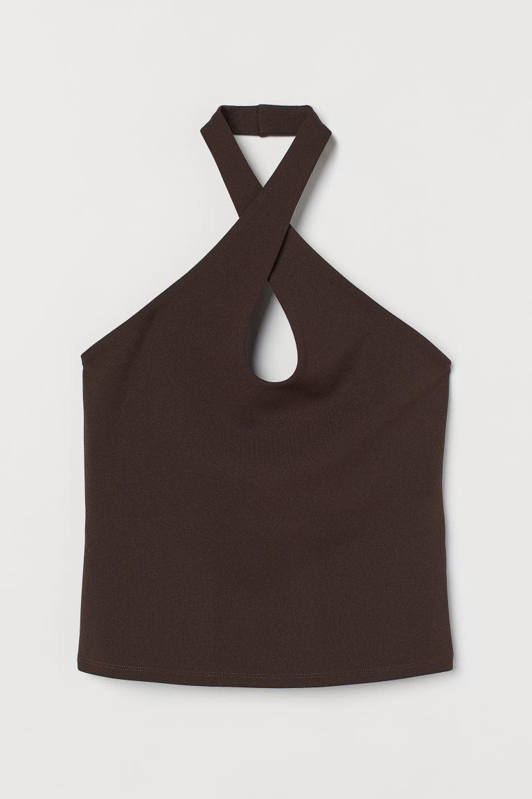 H & M - 繞頸上衣 - 褐色