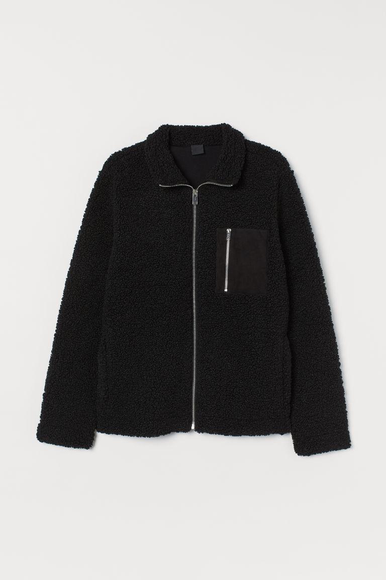 H & M - 仿綿羊外套 - 黑色
