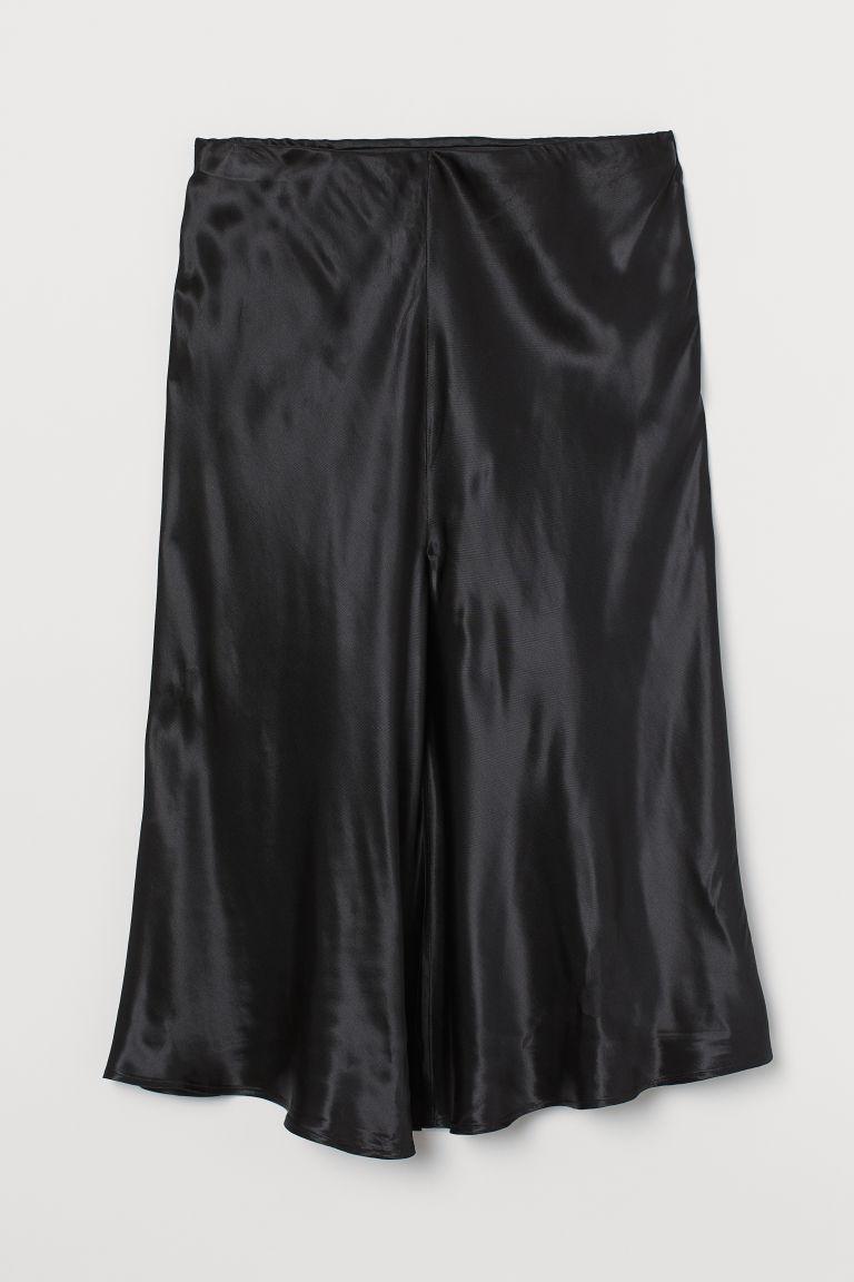H & M - H & M+ 開衩中長裙 - 黑色