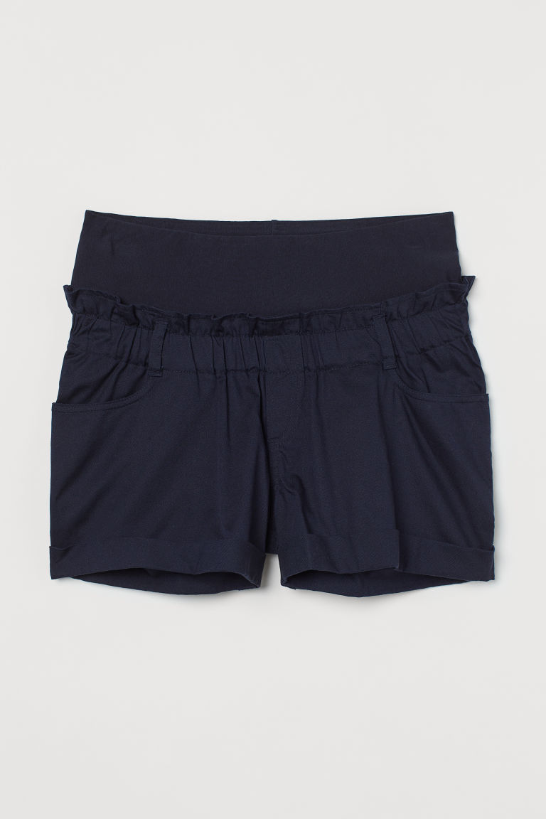 H & M - MAMA 斜紋短褲 - 藍色