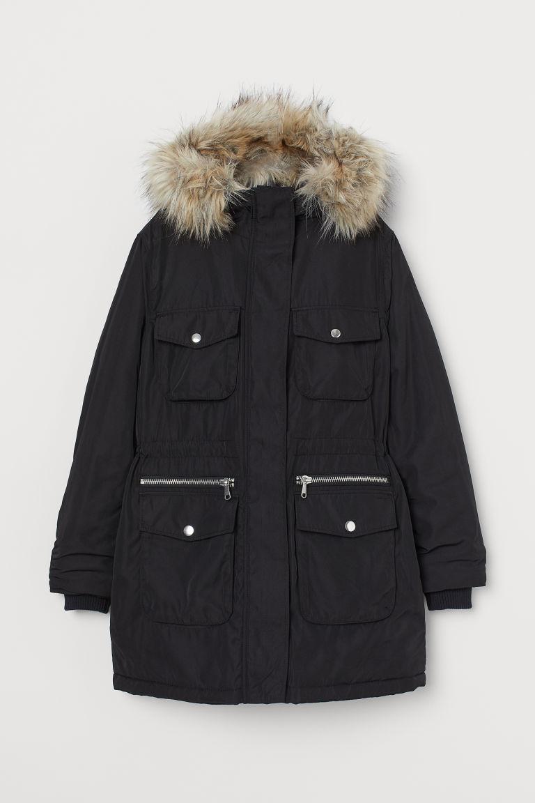 H & M - 連帽鋪棉軍外套 - 黑色