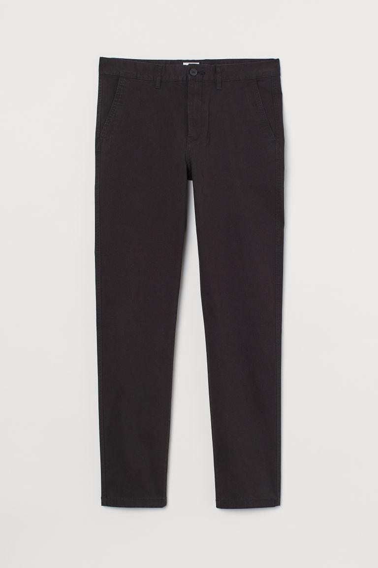 H & M - 緊身棉質卡其褲 - 黑色