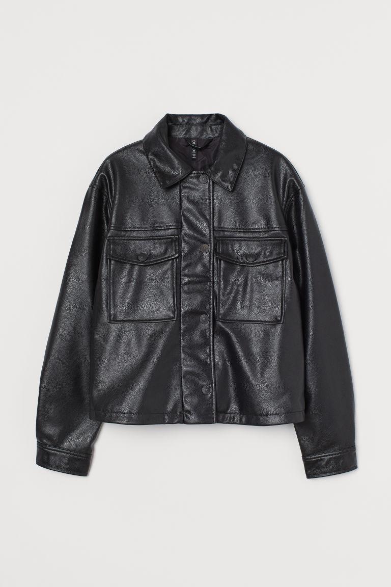 H & M - 短版仿皮外套 - 黑色