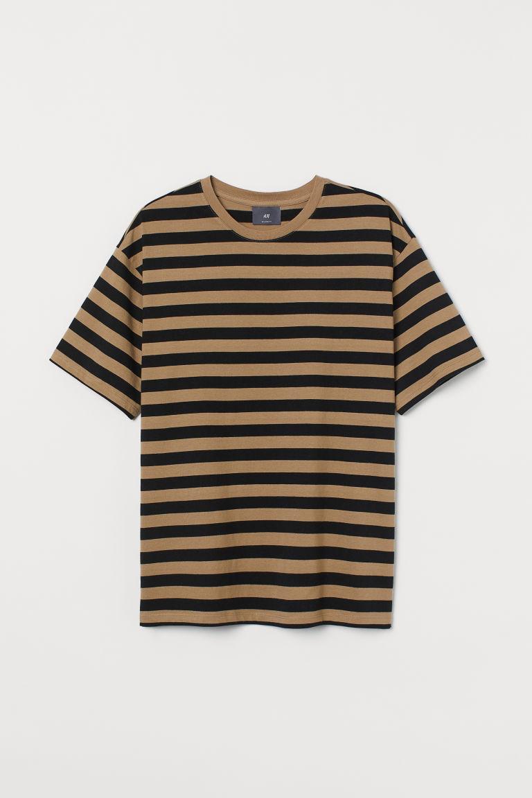 H & M - 休閒剪裁T恤 - 黑色