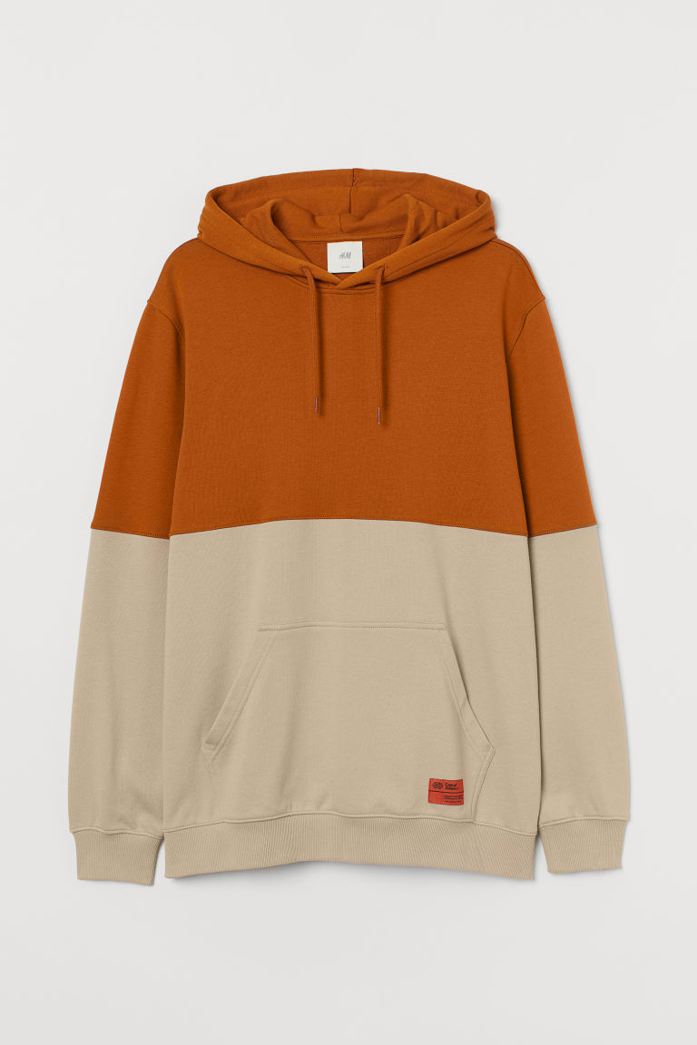 H & M - 拼色連帽上衣 - 橙色
