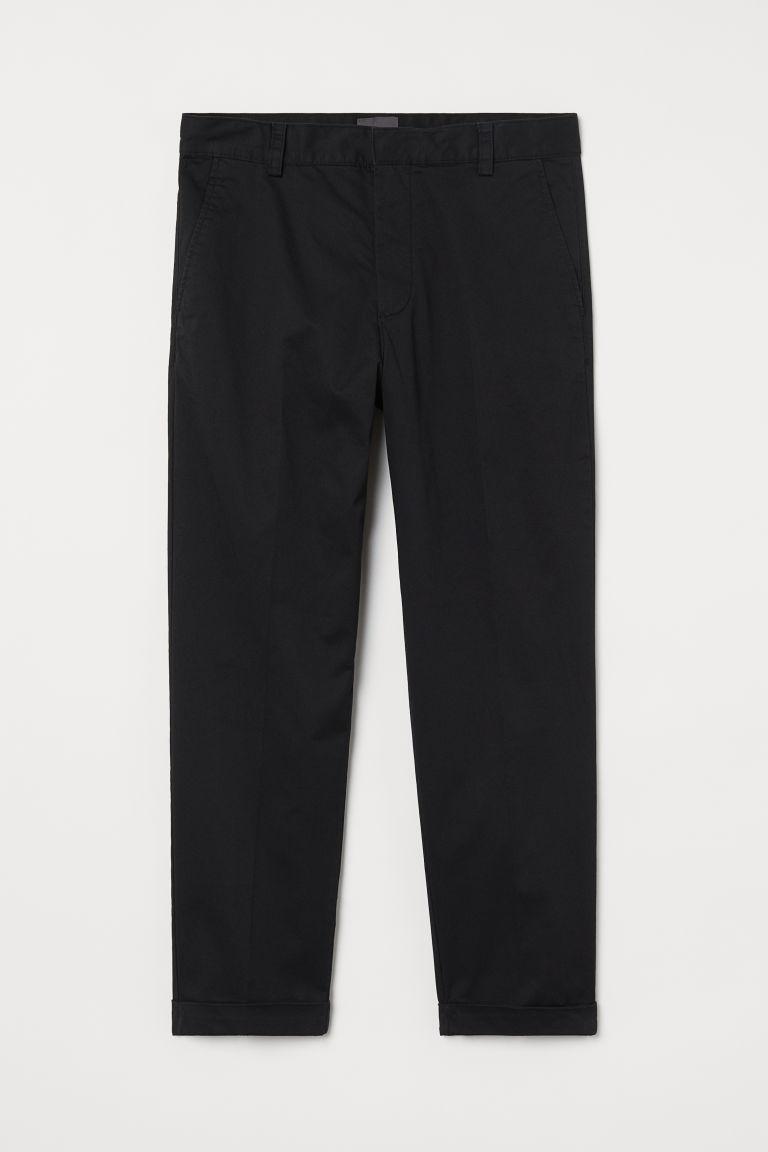 H & M - 合身棉質卡其褲 - 黑色