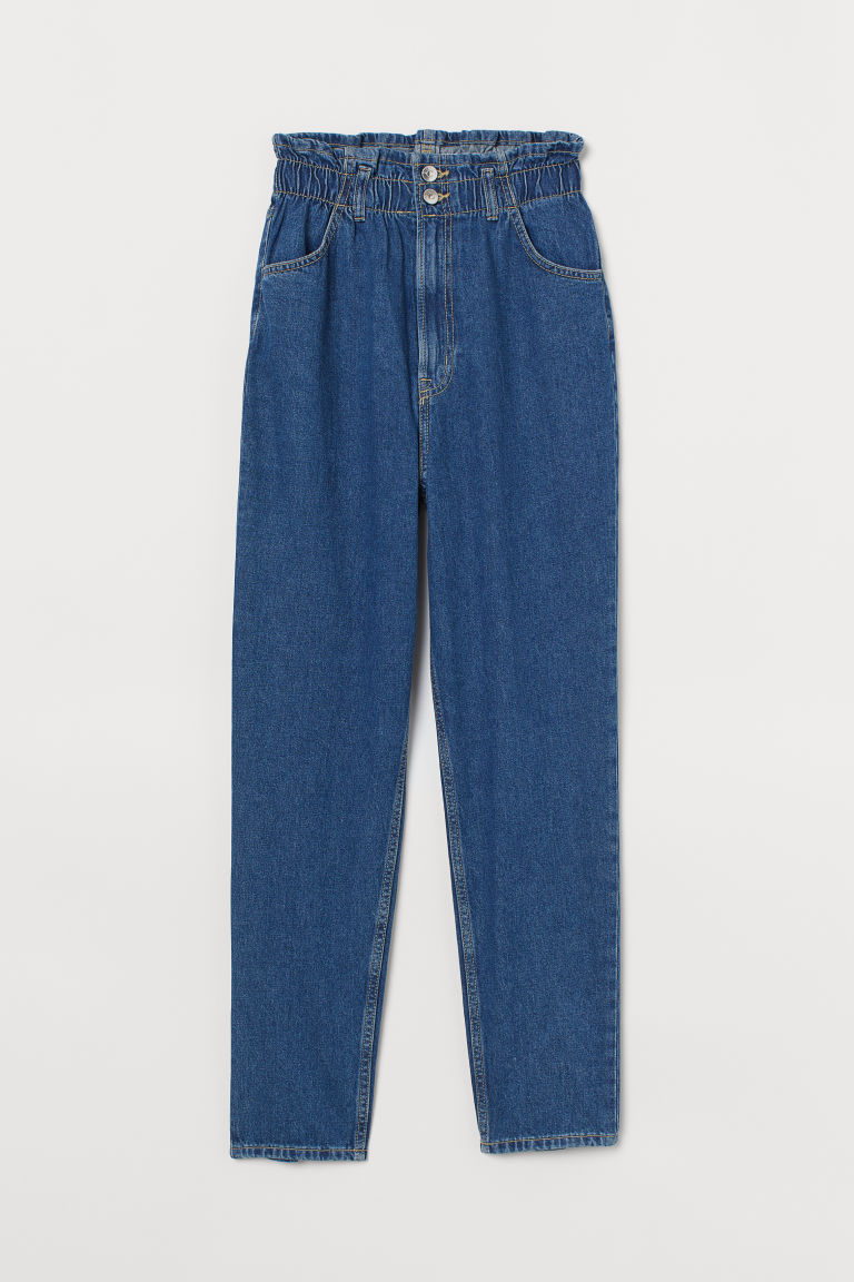 H & M - 錐形高腰九分牛仔褲 - 藍色