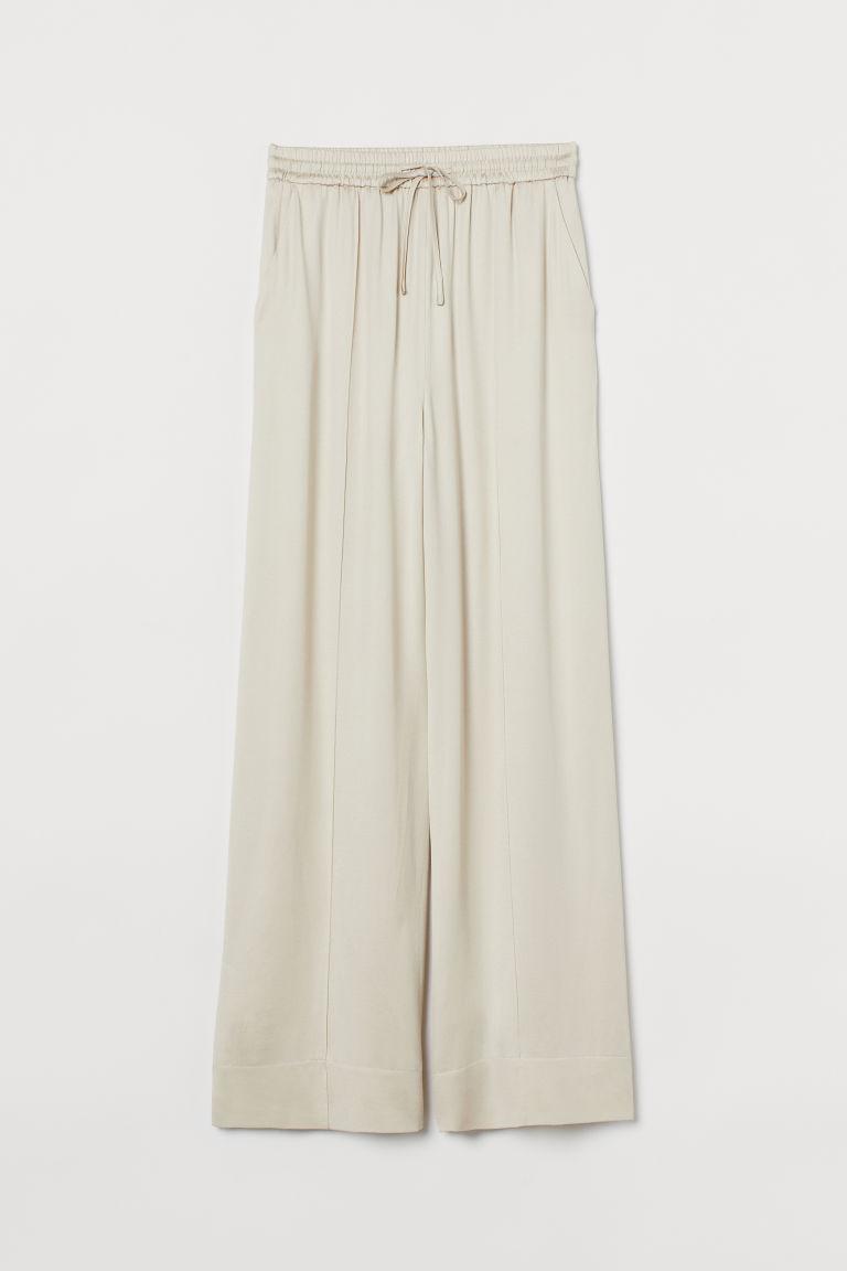 H & M - 真絲混紡寬管褲 - 白色