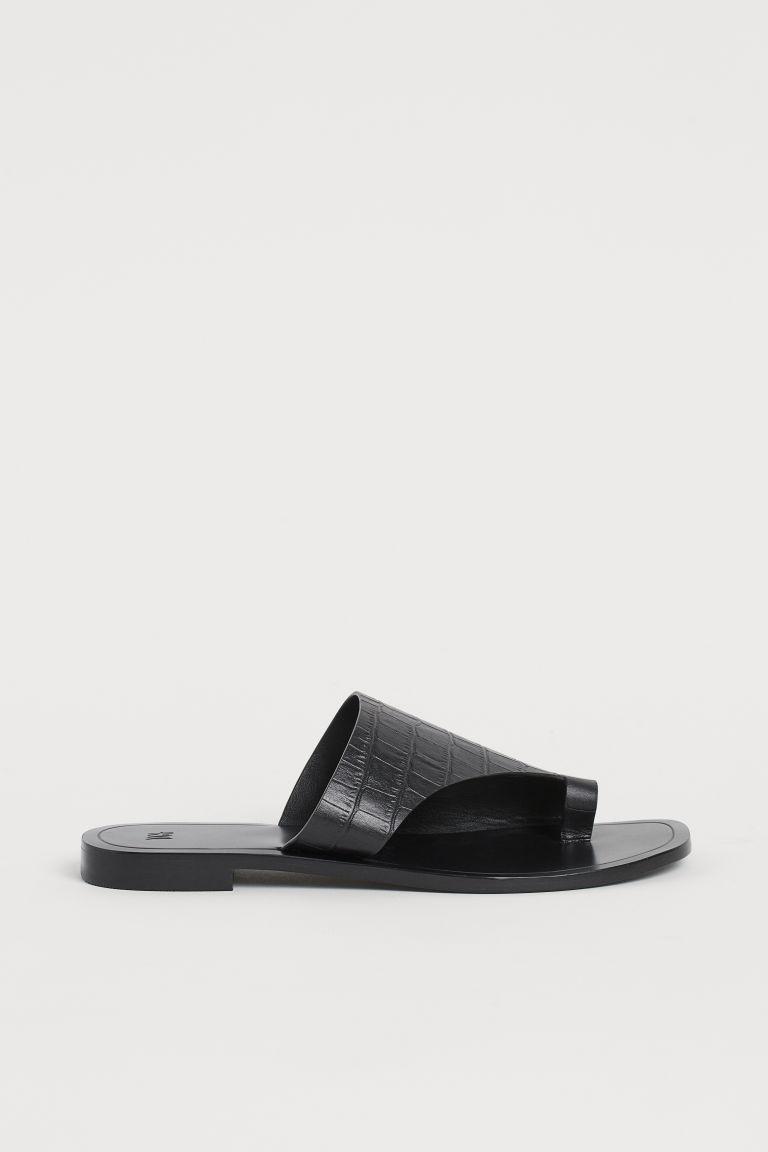 H & M - 真皮夾腳懶人拖鞋 - 黑色