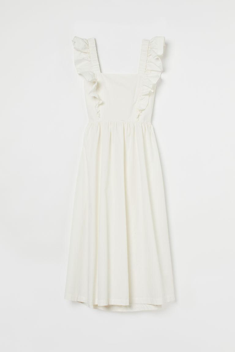 H & M - 府綢棉洋裝 - 白色