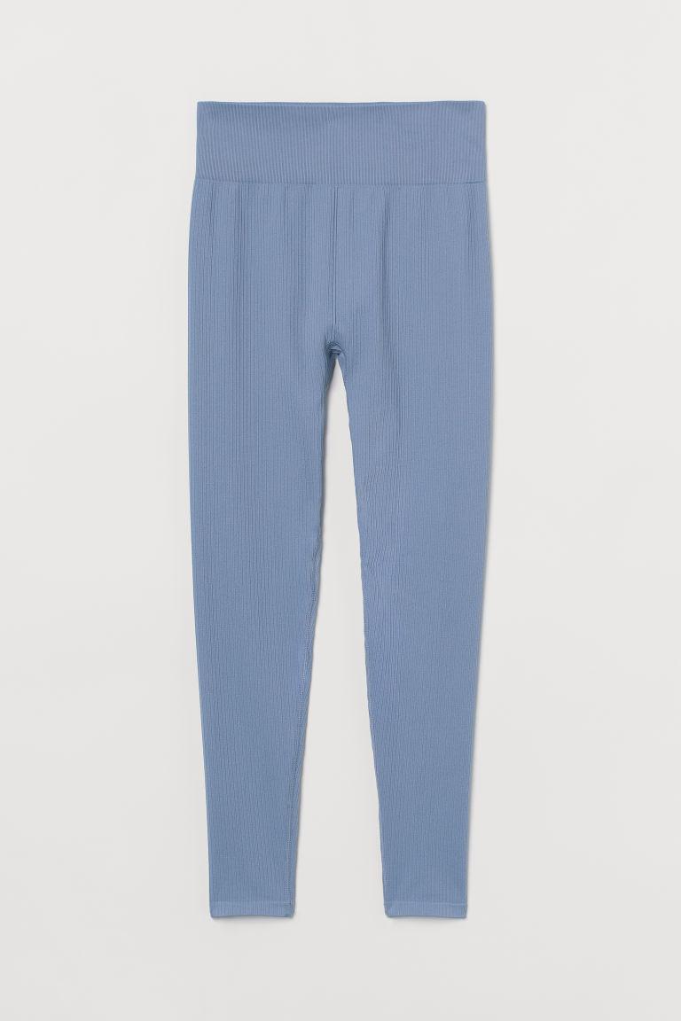 H & M - 無痕緊身運動褲 - 藍色