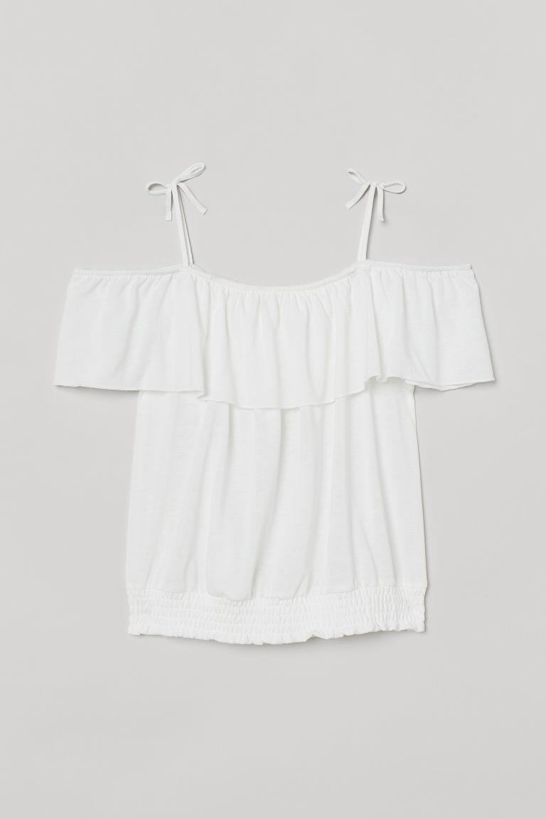 H & M - 露肩上衣 - 白色