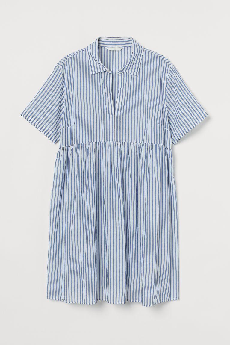 H & M - MAMA 棉質襯衫式洋裝 - 藍色