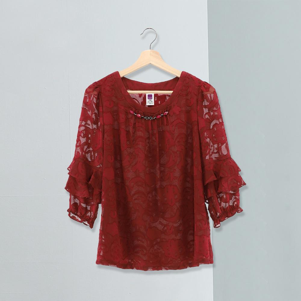 ILEY伊蕾 圖騰燒花荷葉袖上衣(紅)978113