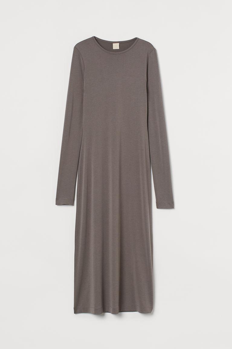 H & M - 莫代爾混紡長洋裝 - 灰色