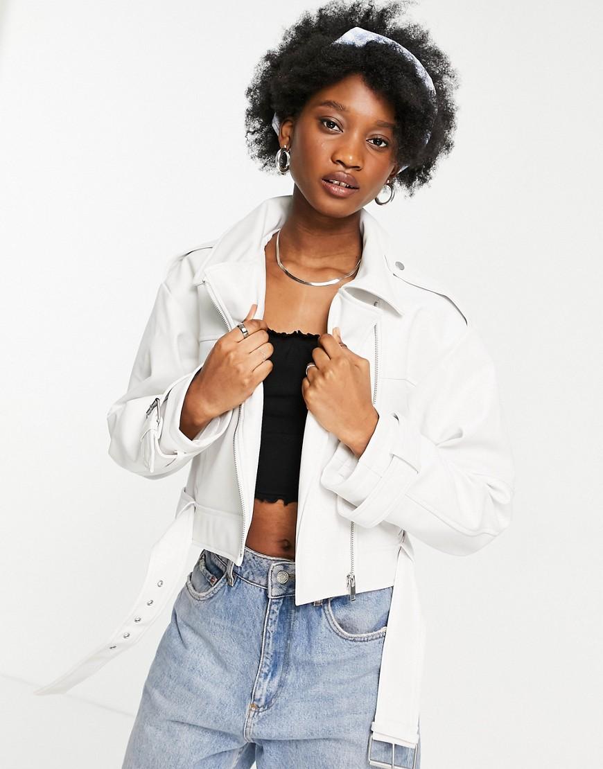 ASOS DESIGN luxe biker jacket in white