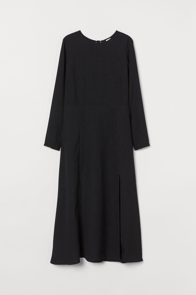 H & M - 開衩洋裝 - 黑色