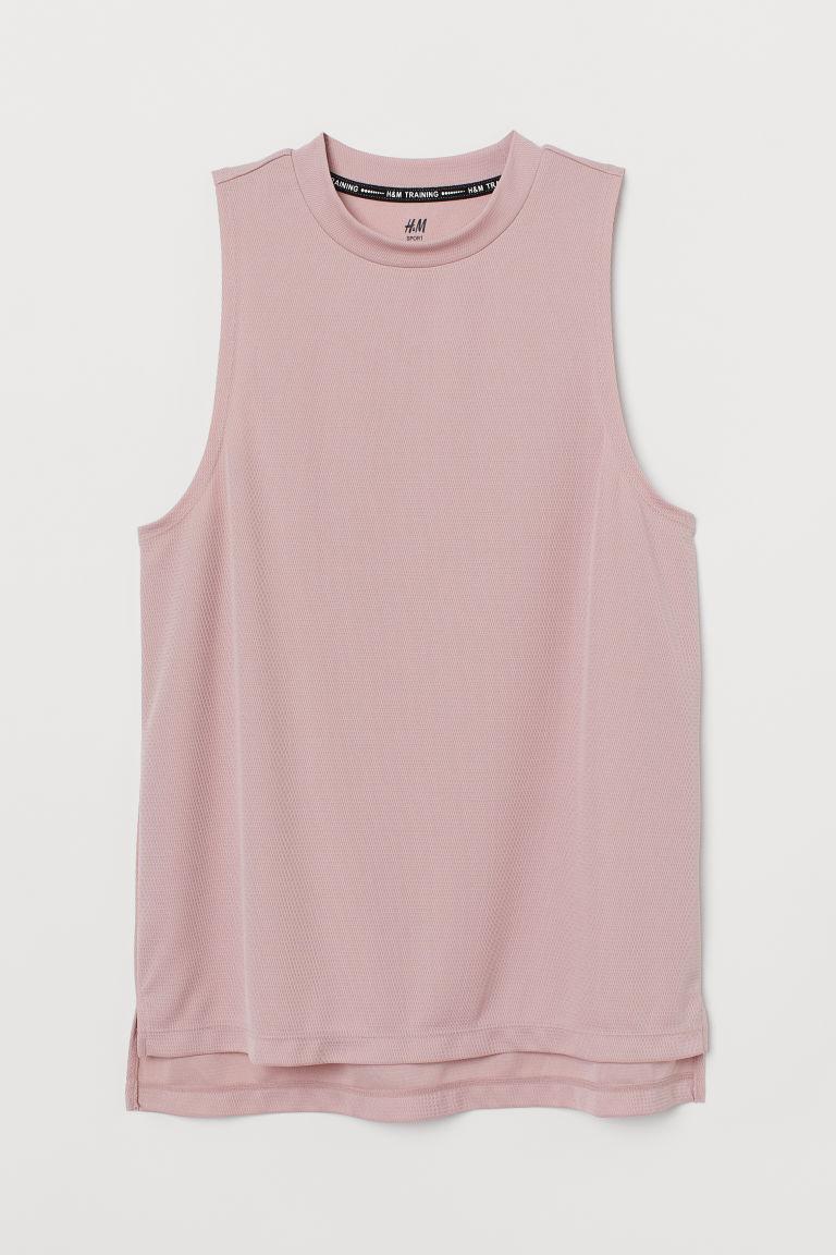 H & M - 羅紋運動背心上衣 - 粉紅色