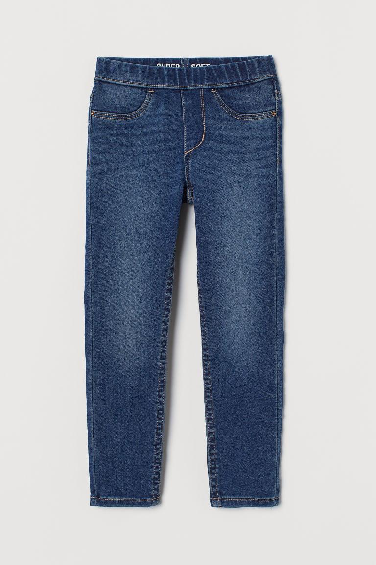 H & M - 特柔丹寧內搭褲 - 藍色