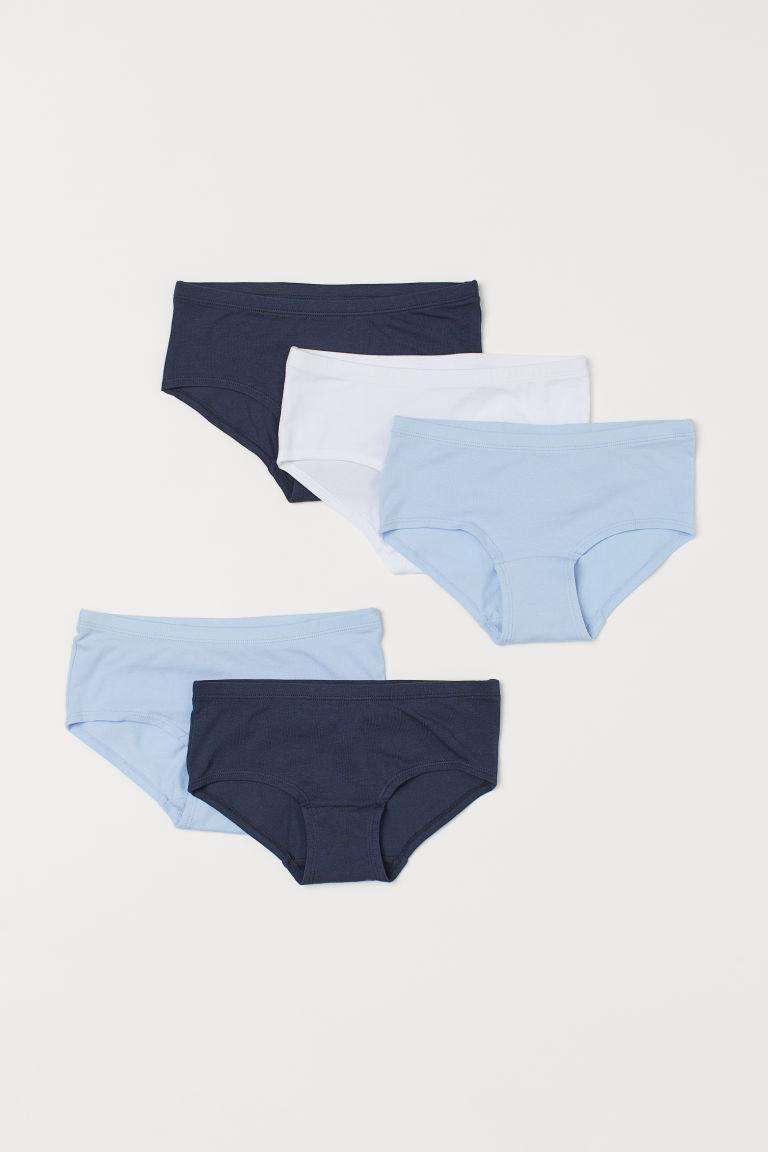 H & M - 5件入棉質內褲 - 藍色