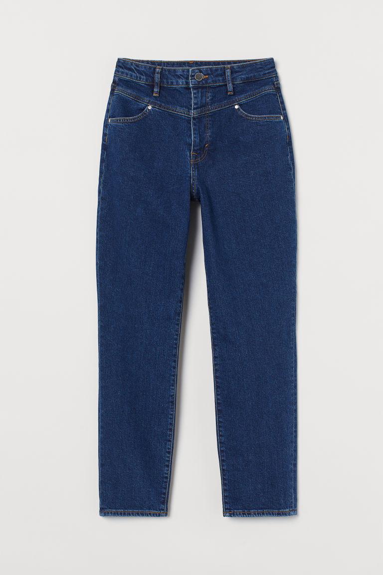H & M - 老媽超高腰九分牛仔褲 - 藍色