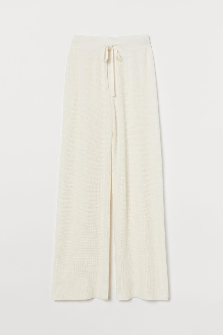 H & M - 華夫格針織長褲 - 白色