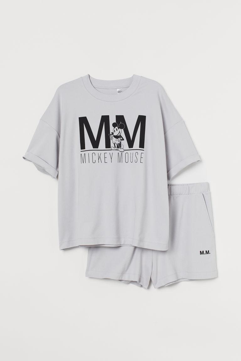 H & M - H & M+ 棉質平紋睡衣套裝 - 灰色