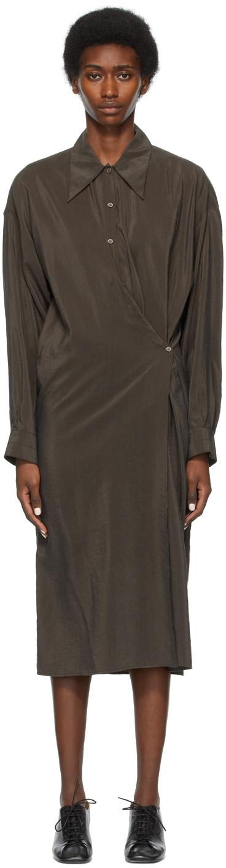 Lemaire SSENSE 独家发售黄褐色扭褶连衣裙