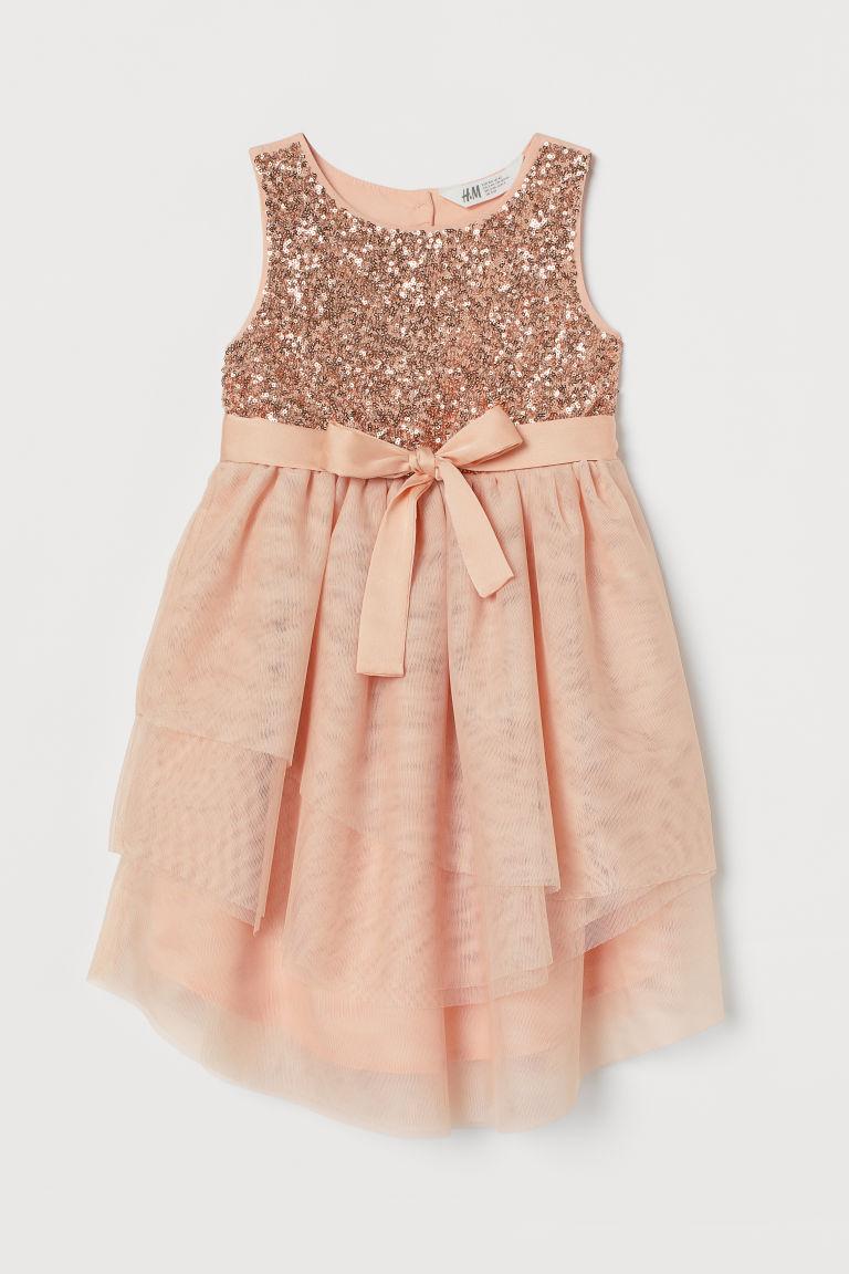 H & M - 亮片薄紗洋裝 - 橙色