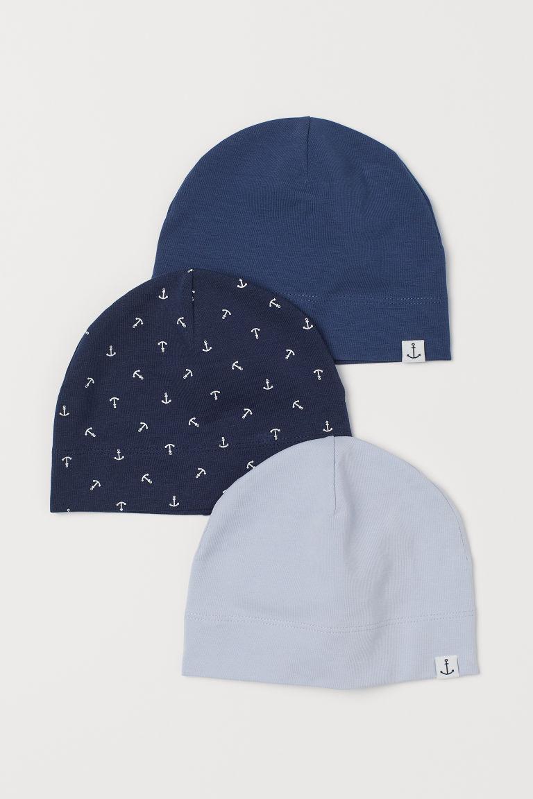 H & M - 3入裝棉質平紋帽 - 藍色