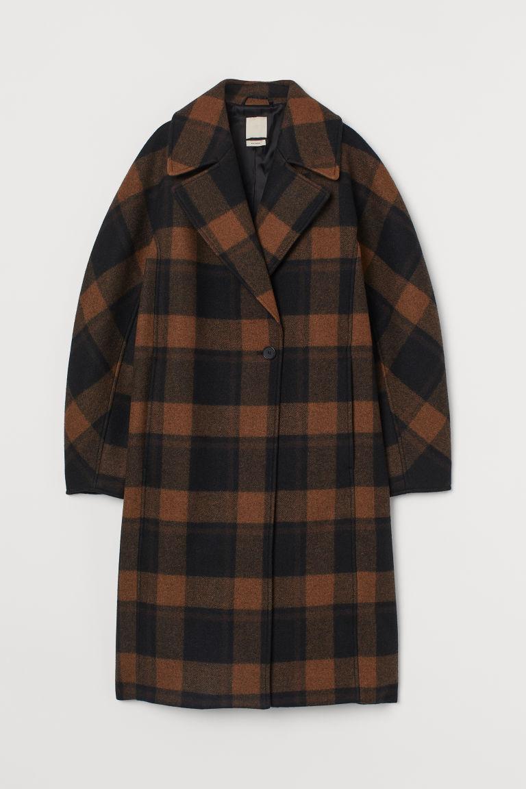 H & M - 羊毛混紡大衣 - 橙色
