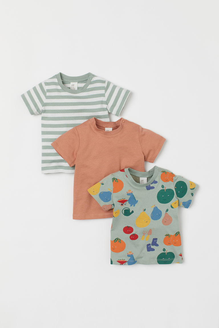 H & M - 3件入棉質平紋T恤 - 綠色