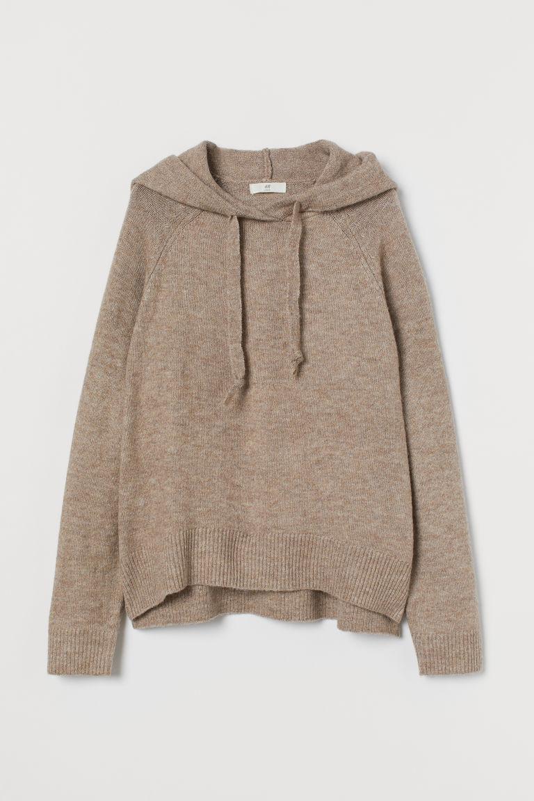 H & M - 精織連帽上衣 - 褐色