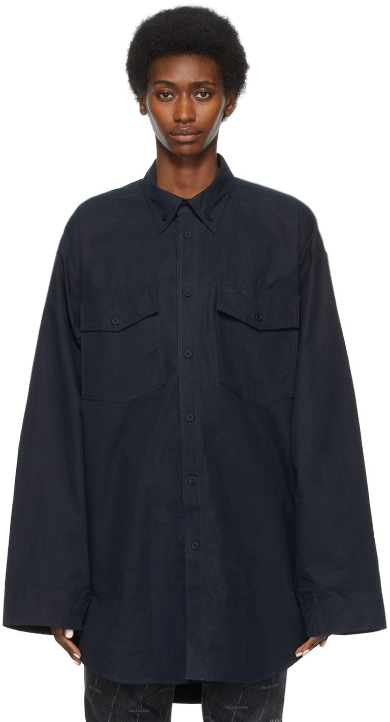 Balenciaga 海军蓝大廓形衬衫