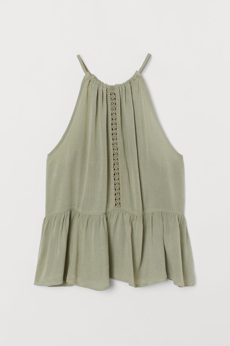 H & M - 褶縐上衣 - 綠色