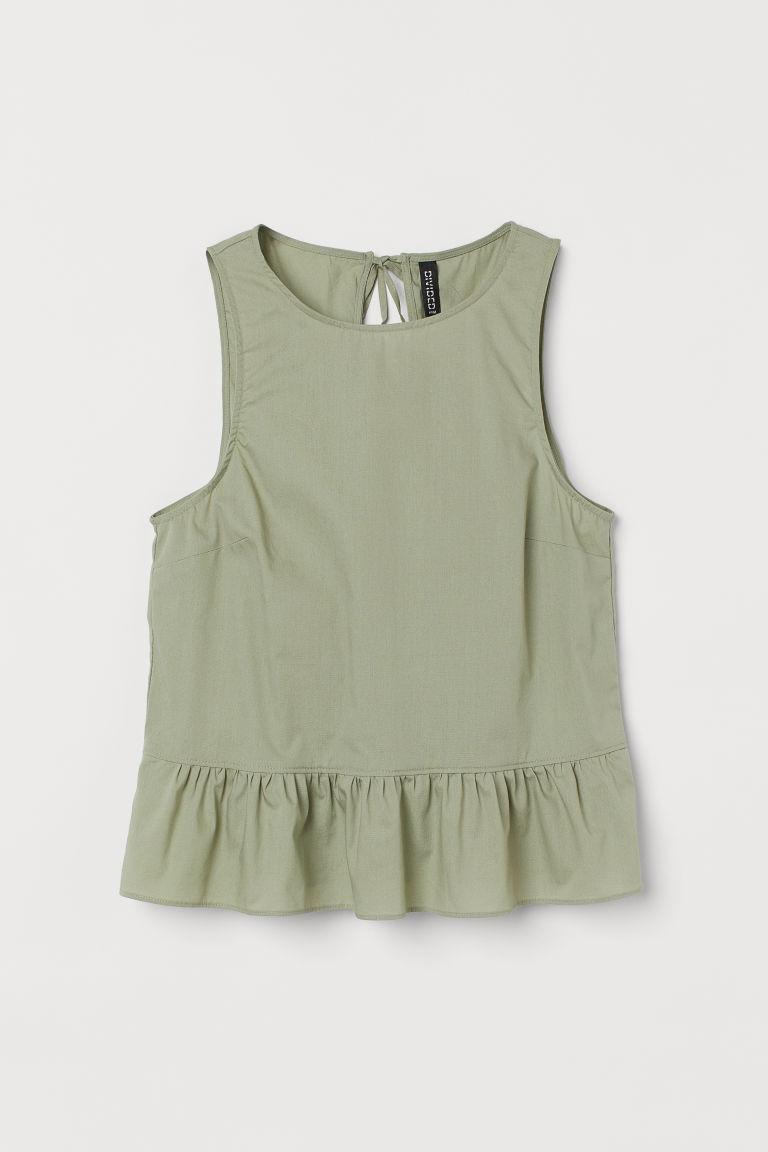 H & M - 後綁帶荷葉浪邊上衣 - 綠色