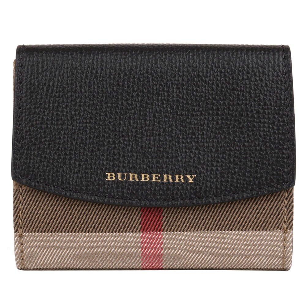 BURBERRY  格紋拼皮革前後釦零錢袋短夾(深卡其x黑)  (160800-13)