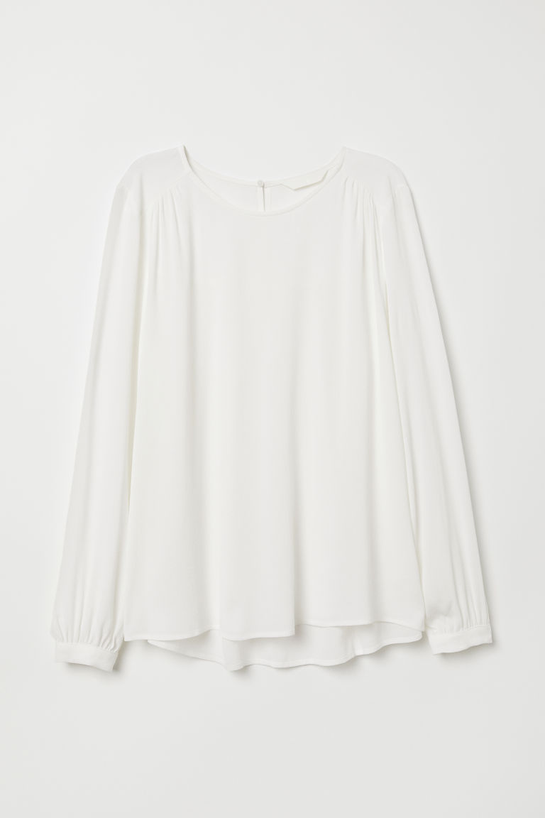 H & M - 縐紗女衫 - 白色