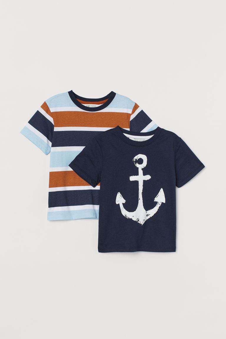 H & M - 2件入圖案T恤 - 藍色