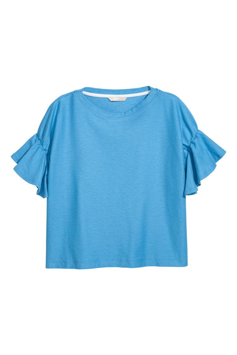 H & M - 荷葉袖上衣 - 藍色