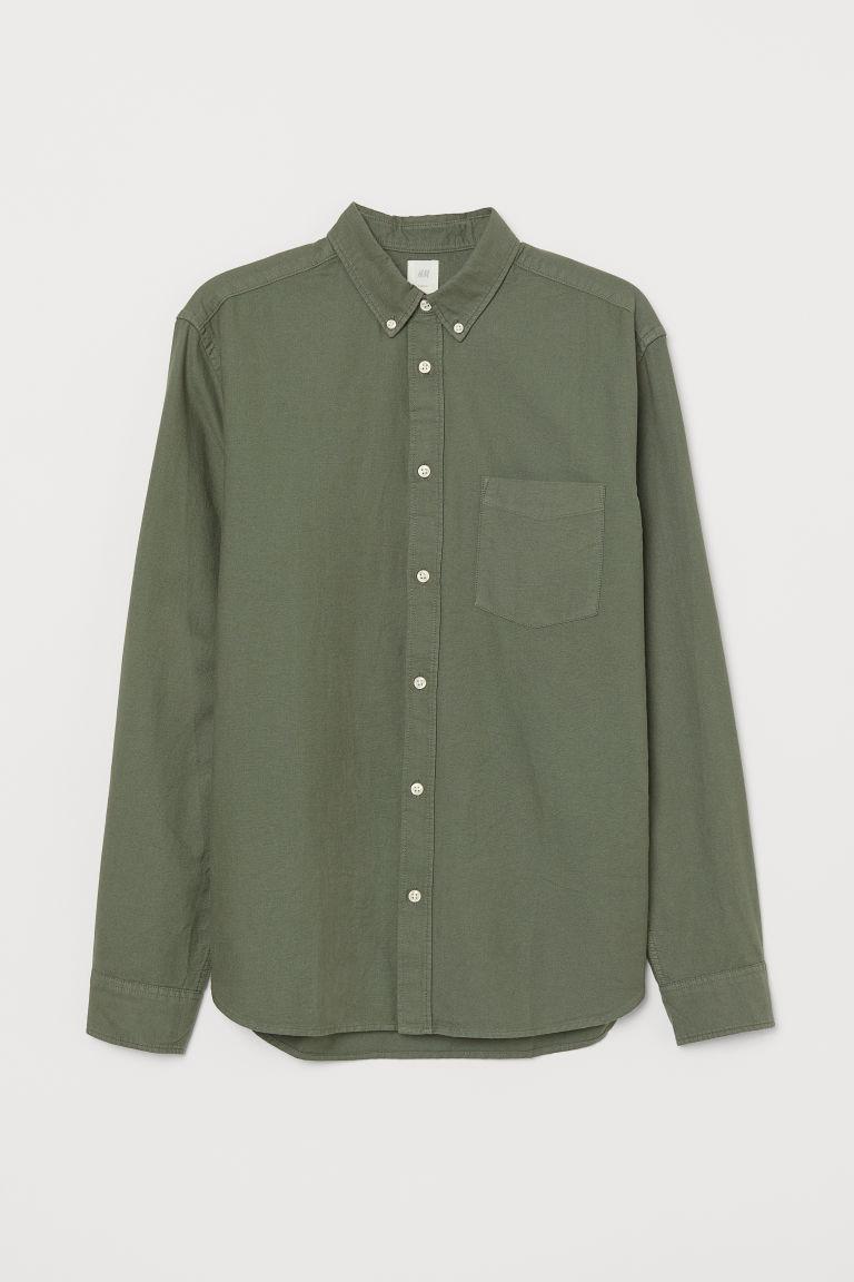 H & M - 標準剪裁牛津襯衫 - 綠色