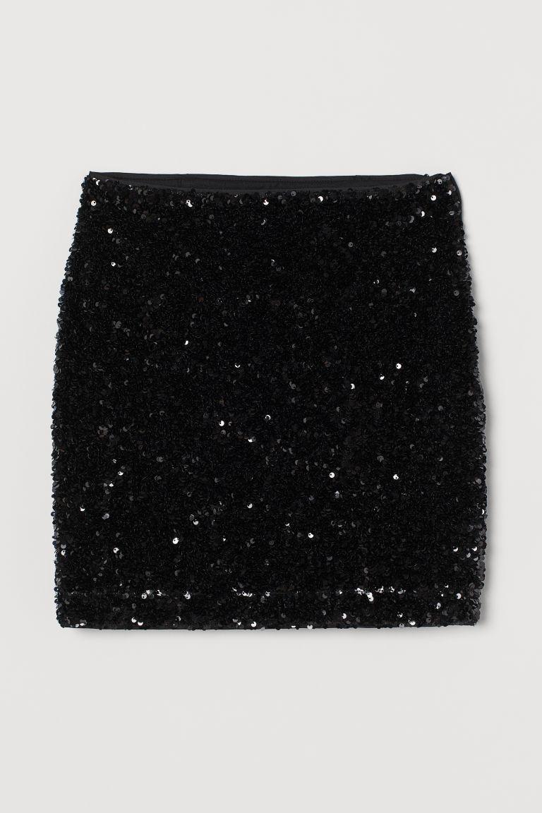 H & M - 亮片裙 - 黑色
