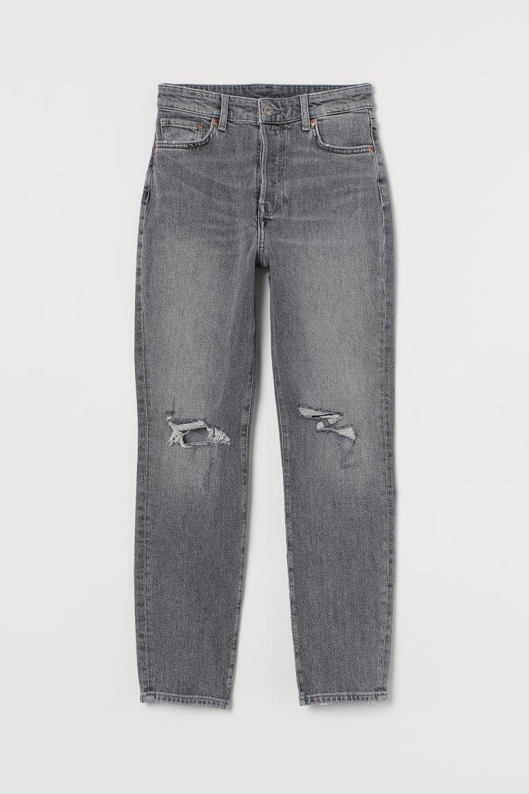 H & M - 老媽高腰九分牛仔褲 - 灰色